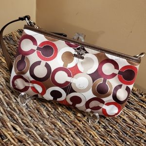 Coach signature cc sateen large wristlet